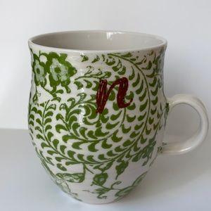 Anthropologie Homegrown Boho Floral Monogram N Mug